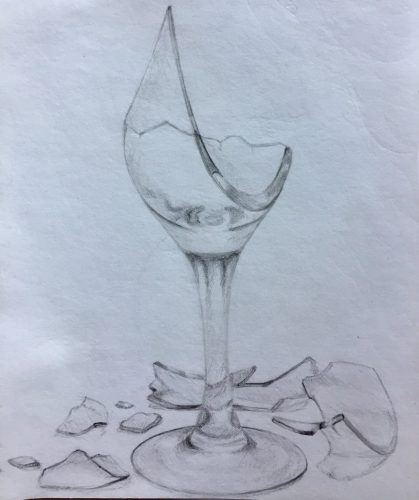 <p>Битое стекло (бокал) - рисунок карандашом</p>