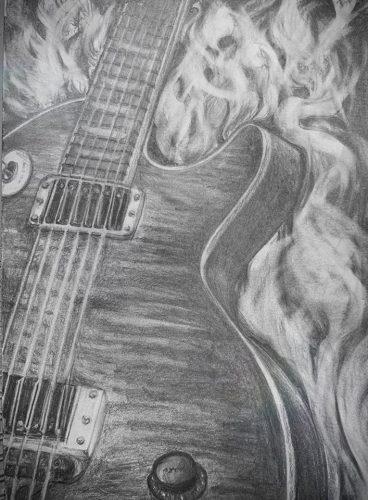 <p>Гитара - рисунок карандашом</p>