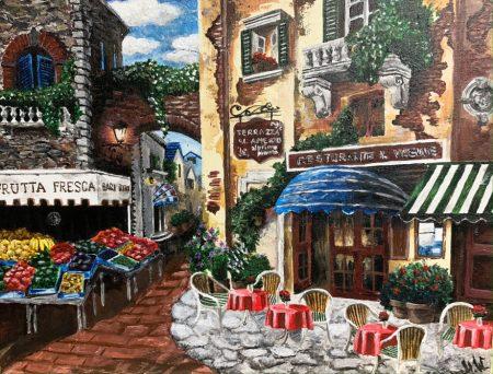 <p>Городской пейзаж - Картина красками</p>