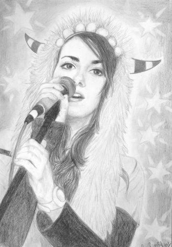 <p>Певица (портрет девушки) - карандашом</p>